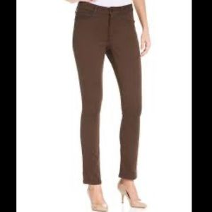 NYDJ brown pull on jeggings skinny pants size 6